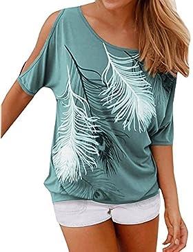 Landove Bluse e Camicie Donna Eleganti Moda T Shirt Stampa Piuma Casual Camicette Spalle Scoperte Maglietta Manica...