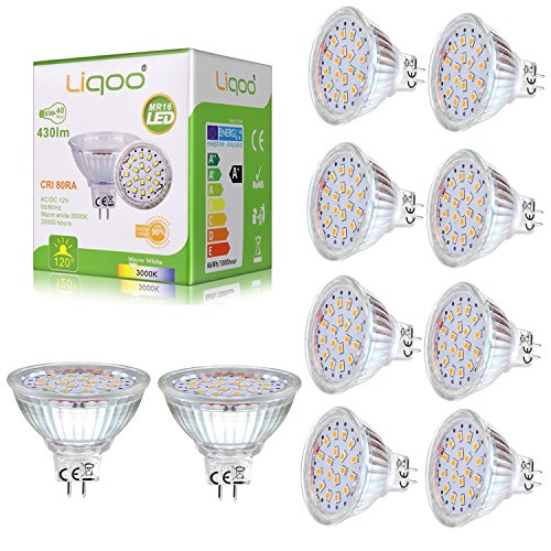 #Liqoo 10er 6W MR16 / GU5.3 / GX5.3 LED Lampe, Ersetzt für 40W Glühlampe, Warmweiß 3000K, 430Lumen, AC / DC 12V, 80 Ra, 120° Abstrahwinkel, 18 x 2835 SMDs, LED Birnen, LED Leuchtmittel#
