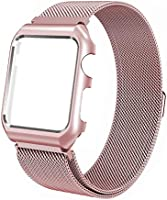 123Watches.nl - Apple watch milanese case band - rose goud - 42mm