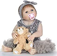 Scienish 22inch Reborn Baby Doll Soft Vinyl Silicone Newborn Baby Doll Girl Toy Gift Dolls