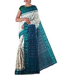 Unnati Silks Women Cream-Green Pure Handloom Sambalpuri Cotton Ikat Saree(UNM22069)