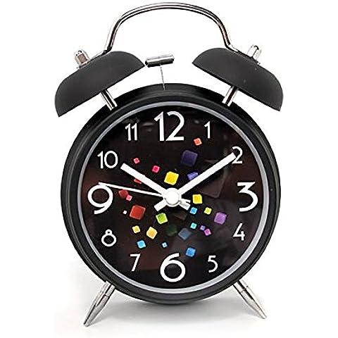 Retro Despertador Clock Sin tic tac gemelo de Bell con Dial estereoscópica, luz de fondo, con pilas Loud Alarm Clock (negro cúbico)