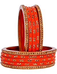 Dulari Stone Embellished Lac Round Ethnic Bangles For Women (Set Of 10 Bangles)Colors Available