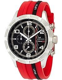 LOTUS 15881/2 - Reloj cronógrafo de cuarzo para hombre, correa de goma color negro (cronómetro, agujas luminiscentes)