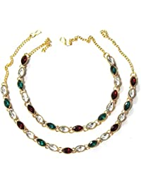 Shree Mauli Creation Multicolour Alloy Multicolour Stone Nice Anklet For Women SMCA70