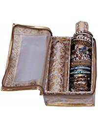JaipurCrafts Golden Bangle Box Two Roll In Brocade (Golden)