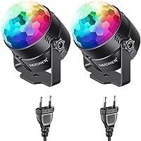 Neewer 2-paquete Mini LED Luz de Escenario Fiesta Sonido Activado, RGB 7-color de Luz Estroboscópica Discoteca Bola DJ Luz para Navidad Xmas Festival Karaoke en Casa Club Fiesta Bodas