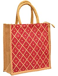 Natural Color With Red Diamond Dot Printed With Rope Handle Jute Burlap Lunch Tiffin Outdoor Handbag Bag Working...