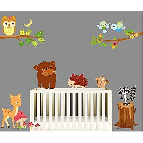 Galleria tela-fai da te per la casa di arte autoadesivi smontabili della parete Camera dei bambini scuola materna Different Amabili Stickers murali Animal #