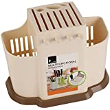 HOKIPO® Multifunction Kitchen Knife & Cutlery Flatware Holder Rack with Removable Draining Tray