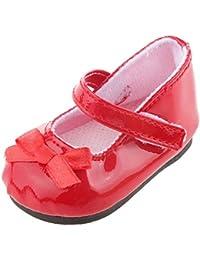 yeah6788618pulgadas muñeca zapatos con lazo para niñas (rojo)