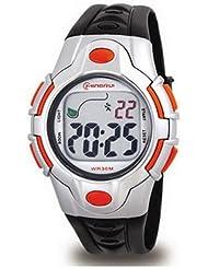 Montre digital Homme - bracelet Plastique Noir - Cadran Rond Fond Gris et Orange - Marque Montre Concept - MR8501