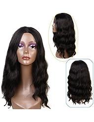 Perruques synthétiques pour femmes noires Style ondulé naturel Noir Couleur20 pouces ( #1b)