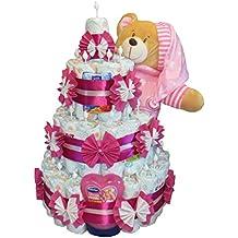 Windeltorte - Windeltorte mit großen Schlafbär 4-Stöckig rosa