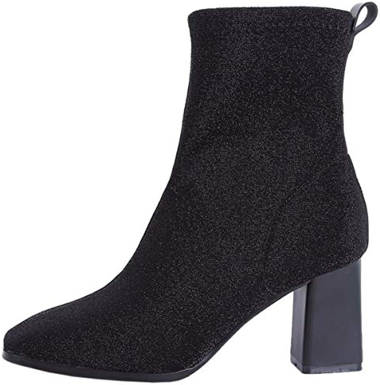 GTVERNH Chaussures Femmes/La Femmes/La Femmes/La Mode Tête Au Carré des Bottes des Paillettes Tubes 7Cm Talons Haut Moyen Bottines...B07JLPZHPCParent 22c62c