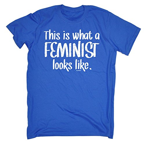 123t Men's THIS IS WHAT A FEMINIST LOOKS LIKE (M - ROYAL BLUE) LOOSE