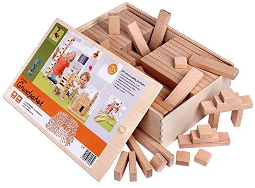 Holzbausteine Großes Grundpaket (244 Bauklötze unbehandelt) Made in Germany