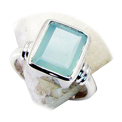 CaratYogi Silber Natürlicher Aqua Chalcedon Ring Smaragd-Cut Handmade Lünette Stil Runde Form Größe 60 (19.1) (Birthstone Smaragd Ringe)