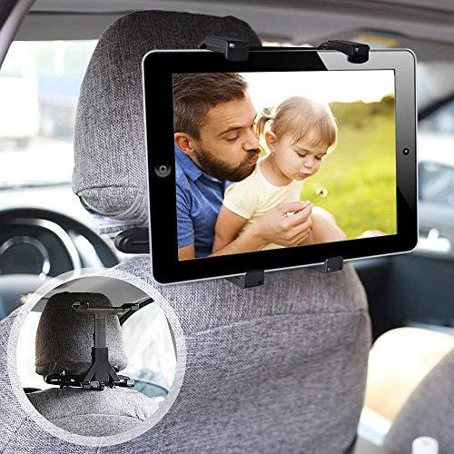 ieGeek Universal KFZ-Kopfstützen Tablet Halterung, Auto Rücksitz Kopfstütze Halterung Einstellbare Halter Für iPad 2/3/4/Mini/Air, Samsung Galaxy Tab, Tragbare DVD-Player und 7-12 Zoll Tablets, Schwarz