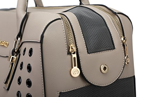YOUJIA Pet Carrier Handbag Breathable Dog Tote Bag Soft PU Leather Travel Purse for Little Pet (Gray, 40 * 19 * 28cm) 4