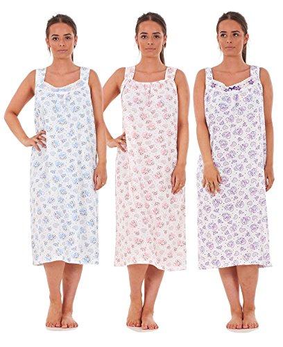 Bay eCom UK Women Nightwear Rose Heart Print 100% Cotton Sleeveless Long Nightdress L to 3XL