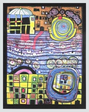 Germanposters Hundertwasser Poster Kunstdruck Bild Die Vier Einsamkeiten im Alu Rahmen in Silber matt 96x76cm