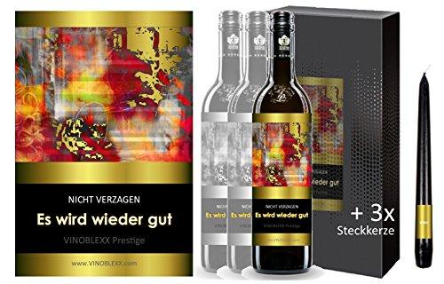 ES WIRD WIEDER GUT. 3er Geschenkset KLASSIK Rotwein. Ein Geschenk mit Stil & Prestige in Golddruck das jeden begeistert. Hochwertiger Qualitätswein. Verschiedene Etiketten-Designs, aktuell: abstrakt