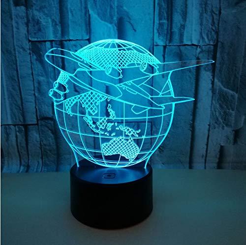 Nachtlicht Erde Flugzeug Modell 3D Usb Netzteil Bunte Touch-Schalter Stereo Dreidimensionale Desktop Kleine Tischlampe Led -