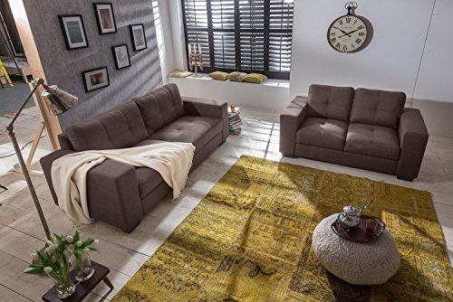SAM Sofa-Garnitur Aviano, 2tlg. Polstergarnitur in braun aus Stoff, abgestepptes Design, pflegeleichte Oberfläche, sehr hoher Sitzkomfort, Sofalandschaft...