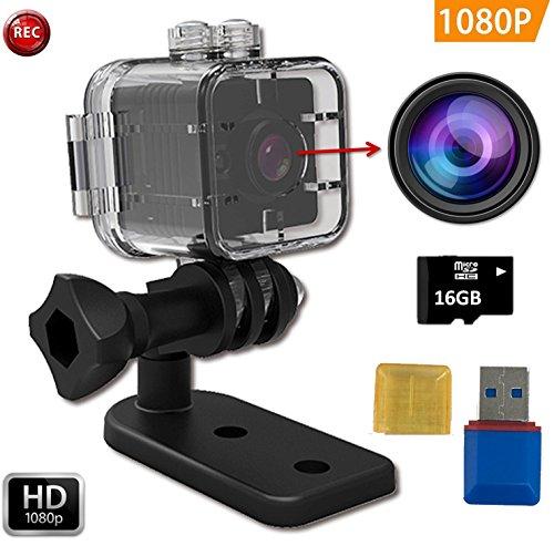 FabQuaity Wasserdichte Mini Nachtsicht Kamera SQ 12 HD-BONUS 16-GB-SD-Karte, Sport Action Kamera Camcorder 1080P DV Video Recorder Infrarot Auto DVR Kamera Motion Detection für Fahrrad Ski Tauchen etc Mini - Usb-cam-software