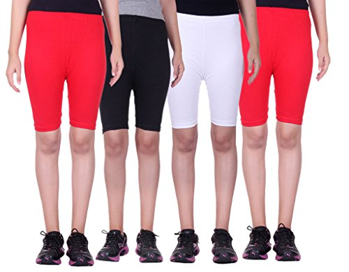 Alisha Stretchable Cycling Shorts - Pack of 4 (RED_BLK_WHT_RED_32)