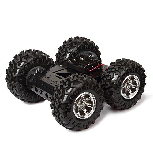 town sister Smart Roboter Car Intelligente Auto Plattform Vehicle Chassis Kit Aluminiumlegierungs Fahrgestelle mit Gummi-Reifen Doppel DC 12V Motor für Arduino Raspberry Pi DIY Size: 27 * 27 * 12cm