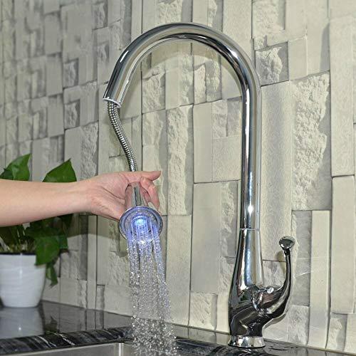 Rubinetto da cucina con doccetta estraibile a LED, miscelatore per lavello da cucina, monomanico, bocca girevole a 360°, acqua calda e fredda, Silver, Taglia libera
