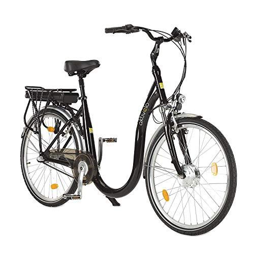 Fahrrad mit tiefem Einstieg, Tiefeinsteiger E-Bike, Elektrofahrrad 26 Zoll, 250W, 12 Ah Samsung Akku, 7-Gänge, leichter Alu-Rahmen, LCD-Display, bis 100 kg belastbar, inkl. Ladegerät, Stoßdämpfung