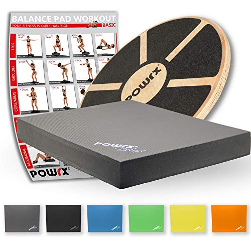 POWRX Balance-Board aus Holz + Balance-Pad Set (Grau)
