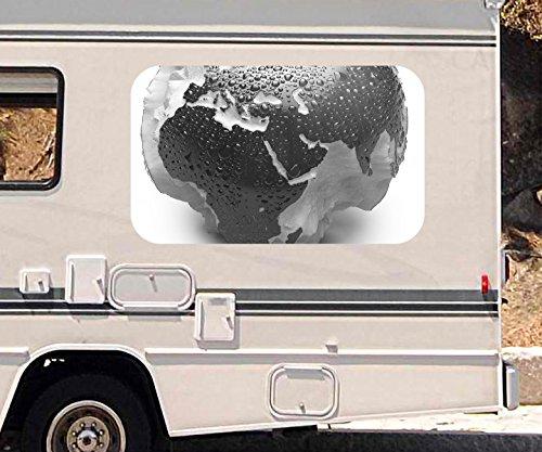 3D Autoaufkleber Apfel Europa Karte Afrika Weltkarte schwarz weiß Wohnmobil Auto KFZ Fenster Sticker Aufkleber 21A459, Größe 3D sticker:ca. 45cmx27cm Europa Karte Aufkleber