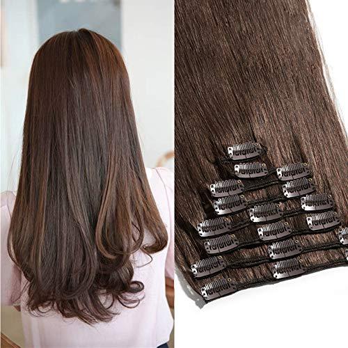 TESS Echthaar Extensions Clip in Haarverlängerung Standard Weft Grad 7A Lang Glatt guenstig Remy Human Hair 8 Tressen 18 Clips 45cm-100g(#4 Schokobraun)