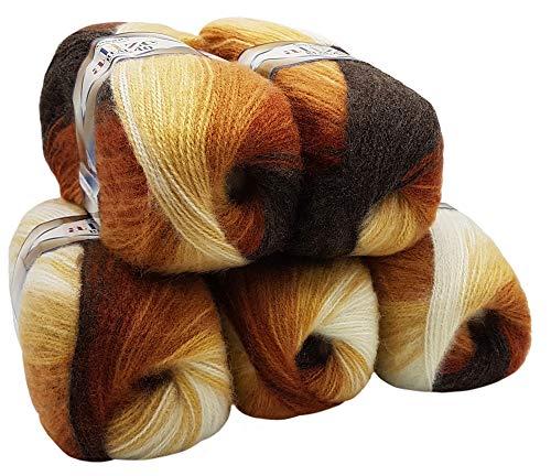 5 x 100 g Alize Strickwolle 40% Woll-Anteil, Mehrfarbig mit Farbverlauf, 500 Gramm Wolle (braun beige Creme 2626)
