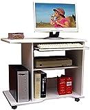 VCM Officano weiß Computertisch/Schreibtisch/PC-Tisch mit Rollen