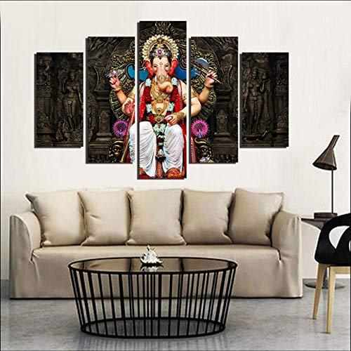 JinFengBaiHuo (Kein Rahmen) Öl Leinwand Malerei Bild Wandkunst Dekoration Für Wohnzimmer Moderne Druck 5 Panel Tibetischen Buddhismus Poster Pengda