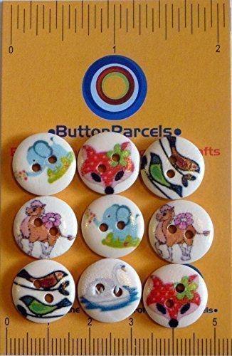 ButtonParcels - Paquete de 24 Botones de Madera Redondos con Diseños Variados y Coloridos de Animales Zorros, Aves, Camello, Cisne, Elefante