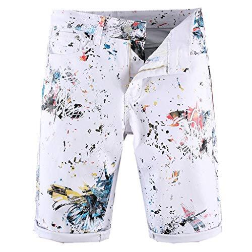 ige Persönlichkeit der neuen Art- und WeiseHerren, die dünne passende Denim-Jeans druckt, schließen Hosen kurz ()