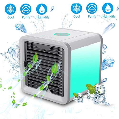 Tragbare Mini Klimaanlage Multifunktions Lüfter Mit 7 Farben Led-leuchten Luftbefeuchter Reiniger Für Home Office Modische Muster Schönheit & Gesundheit
