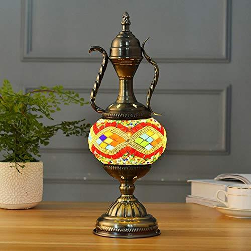 Yhongyang Türkische marokkanische osmanischen Stil Mosaik Teekanne Form Schreibtisch Lampe handgemachte Schlafzimmer Restaurant Cafe Dekoration Licht,A -