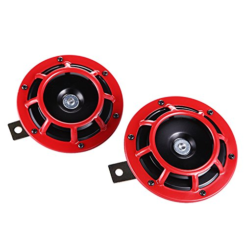 Fafada 139db Altavoces coaxiales para Coche Bocina Audio Altavoz Coaxial 12/24V Un Par Rojo (139db, 12/24V, 2*72W, 12cm, 613g)