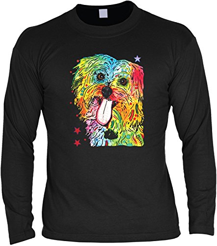 Pop Art ::: Shih Tzu ::: Longshirt für Hundeliebhaber Schwarz