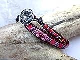 Armband, Wickelarmband 2x, Leder, Perlen, Glasperlen, Rottöne, Wrap, Bracelet, Unikat