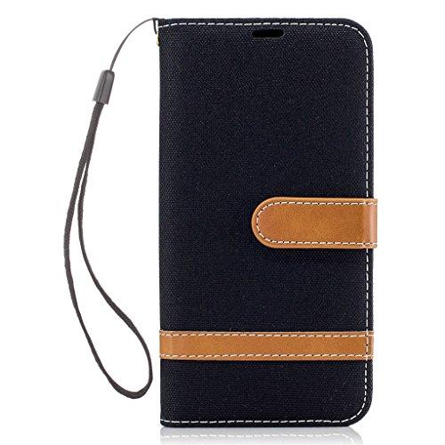 Trumpshop Smartphone Case Coque Housse Etui de Protection pour Apple iPhone 7 Plus (5.5 Pouce) [Noir] Cowboy Style Mode Portefeuille PU Cuir Fonction Support Anti-Chocs Noir