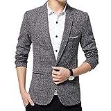 BiSHE, Jackett / Blazer für Herren, mit einem Knopf, leicht, stilvoll, Leinen, schmale Passform Gr. Medium, grau