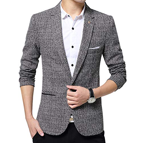twäsche Elegante Blazer Geringes Gewicht eine Schaltfläche Slim Fit Smart formalen Anzüge Jacket Sakkos ()
